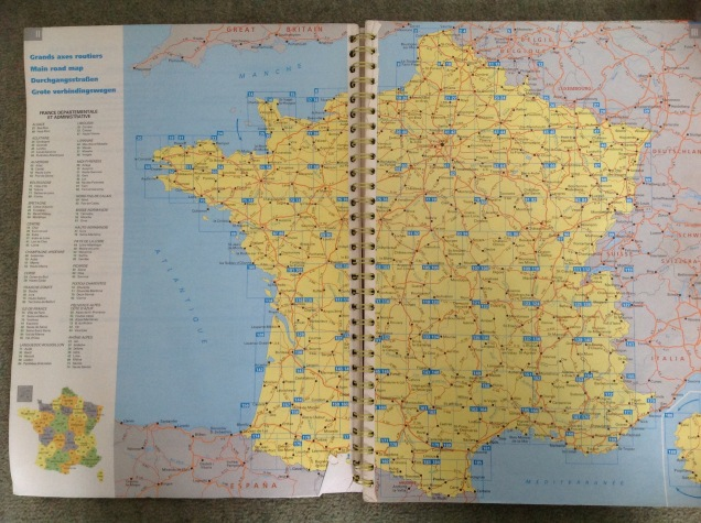 Michelin paper road atlas, France. [Photo by me, 2016.]