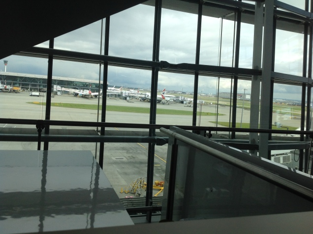 View from inside of Terminal 5, London Heathrow Airport. [Photo by me, 2016.]
