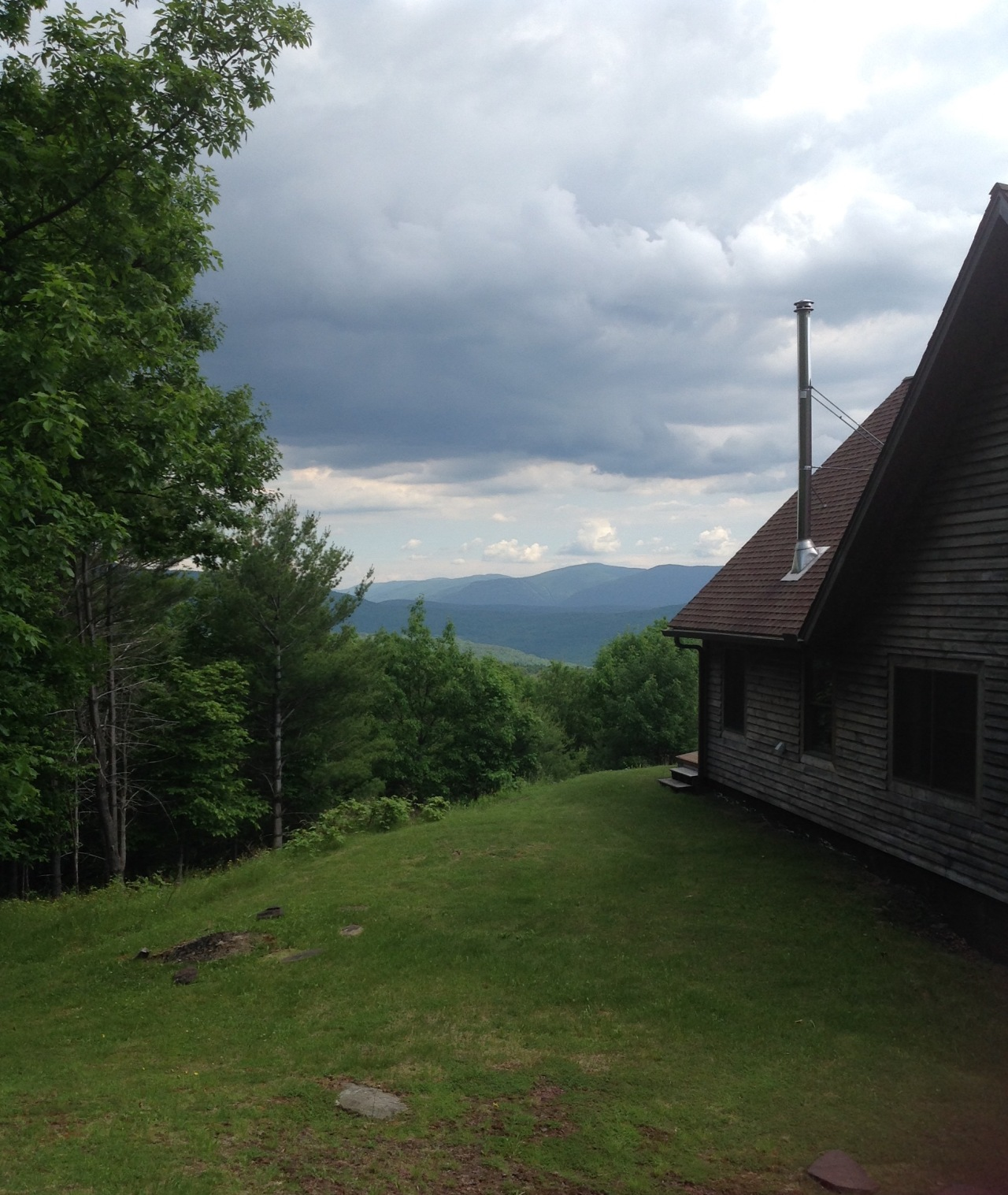 The back of our house, looking towards Hunter Mountain, about 15 miles away. Catskills. [Photo by me, 2016.]