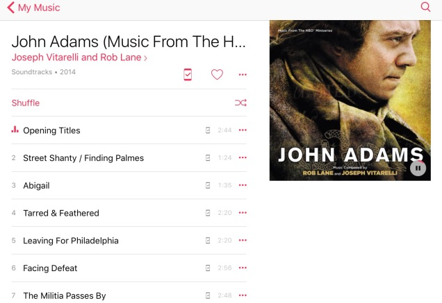 Screen capture of my IPad music.