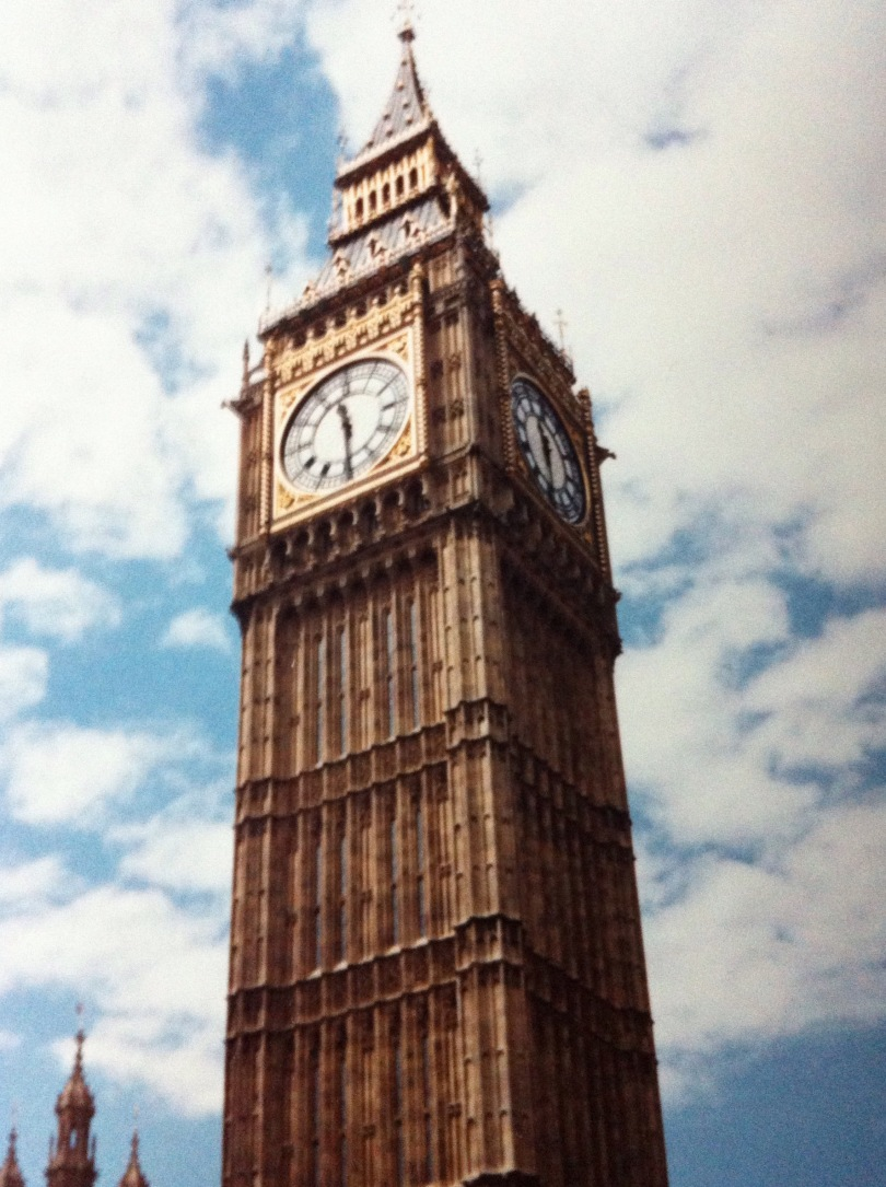 """The """"Big Ben"""" clock at the Palace of Westminster, London. [Photo by me, 1996.]"""