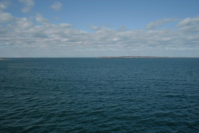 Looking out on Long Island Sound from the Charles W. Morgan, Mystic, Connecticut, April 2000. [Photo by me.]