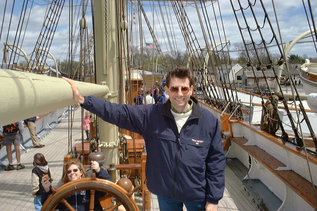 Aboard the Charles W. Morgan, Mystic, Connecticut, April 2000. [Photo by Mrs. Nello.]