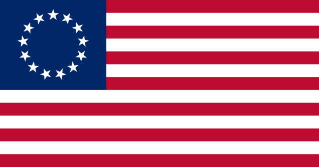 Betsy Ross, 13 Stars U.S.A. Flag, 1777-1795. [Wikipedia. Public Domain.]