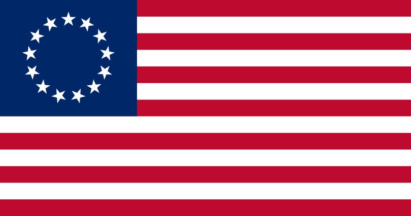 Betsy Ross, 13 Stars U.S.A. Flag, 1777-1795. [Wikipedia. Public Domain.]