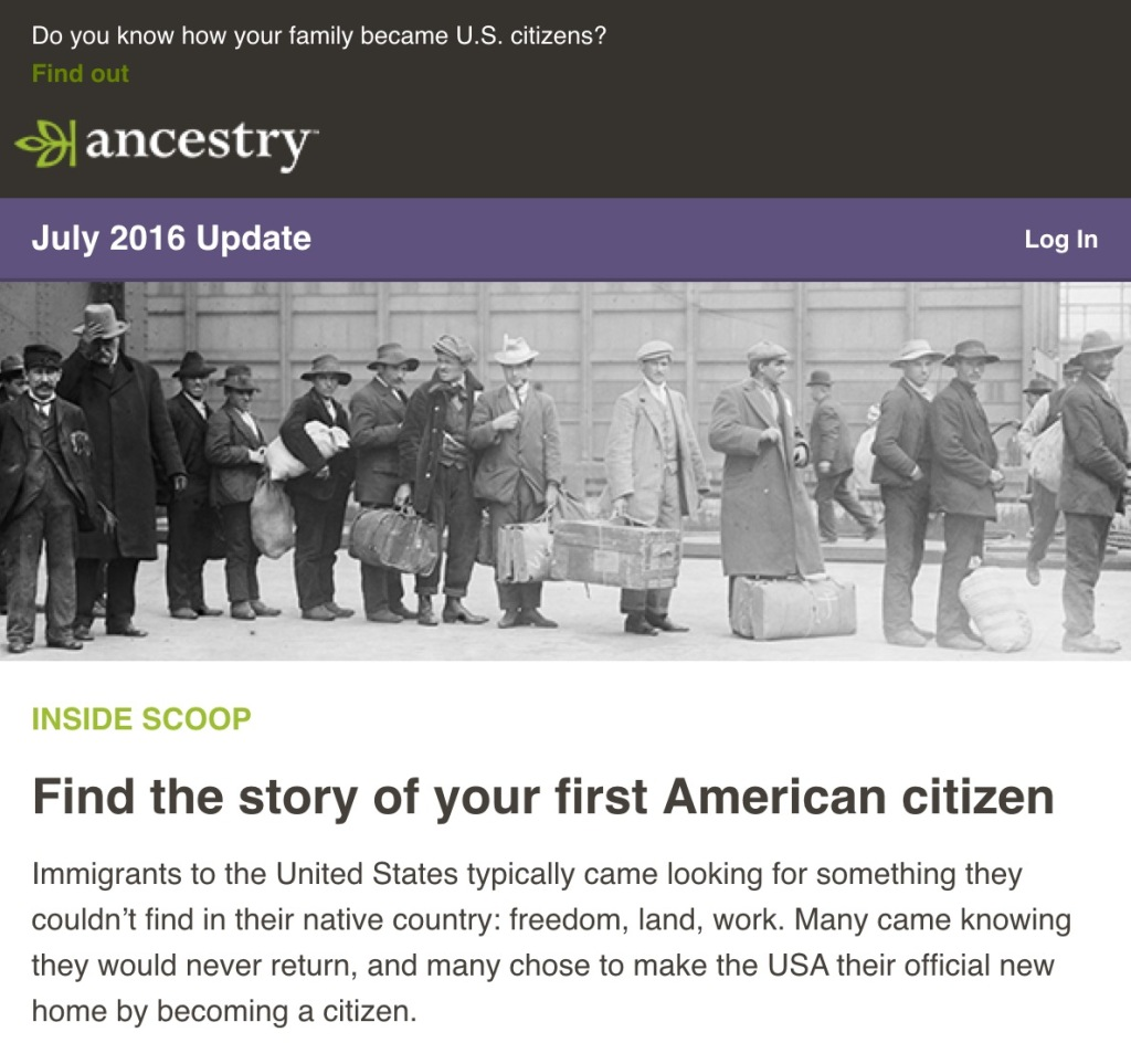 Screen capture of Ancestry email.