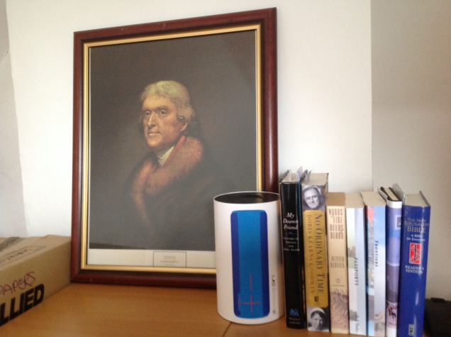 Thomas Jefferson, by Rembrandt Peale, 1805. And assorted books on my desk. [Photo by me, 2016.]