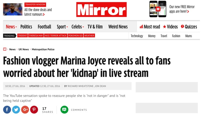 Screen capture of The Daily Mirror.