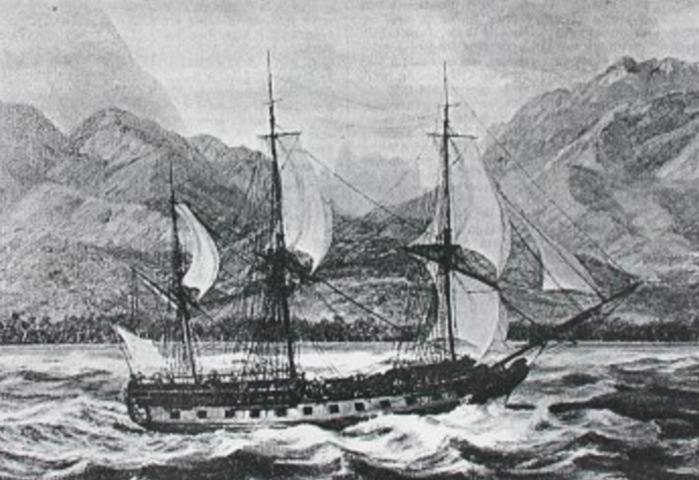 French frigate Boudeuse, in service 1766-1800. [Public domain. Wikipedia.]