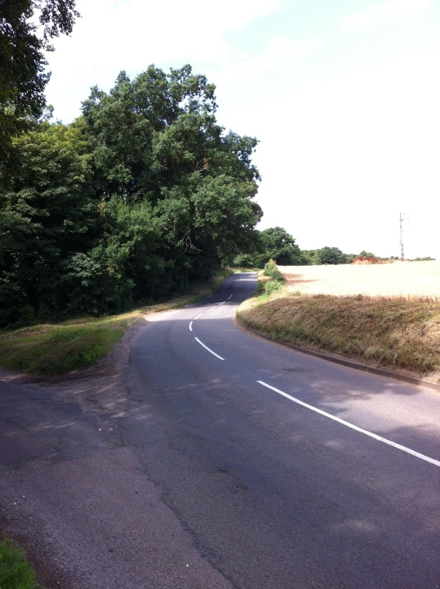 Yet another two-way English country road. [Photo by me, 2016.]