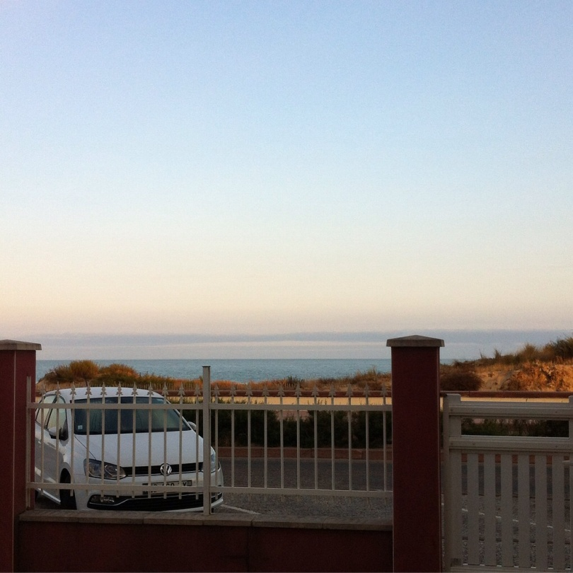 View from our rental house in Soulac-sur-mer, out over the beach to the Bay of Biscay. [Photo by me, 2016.]