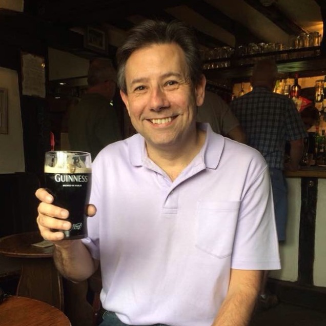 Me, having a pint at a nearby pub after visiting Shaw's Corner. [Photo by Mrs. Nello, 2016.]