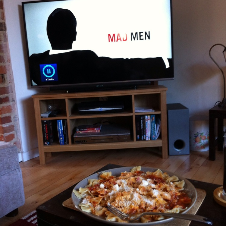 """An evening in alone: I watched """"Mad Men"""" and made myself dinner. [Photo by me, 2016.]"""
