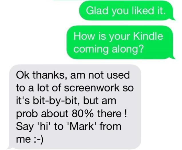 Text message exchange screen capture