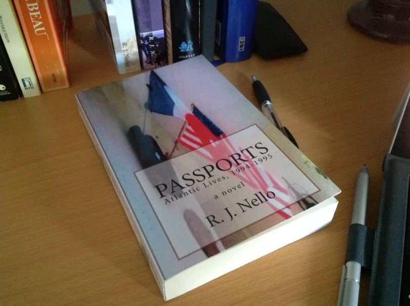"""Passports"" on my desk this morning. [Photo by me, 2016.]"