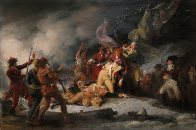 """John Trumbull, 1786. """"The Death of General Montgomery in the Attack on Quebec, December 31, 1775."""" [Wikipedia. Public Domain.]"""