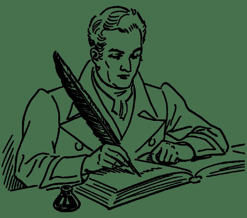 Line art representation of a Quill. [Public Domain. Wikipedia.]