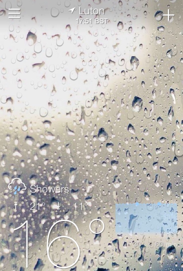 Screenshot of my Yahoo weather on my iPhone, 3 September, 2016.