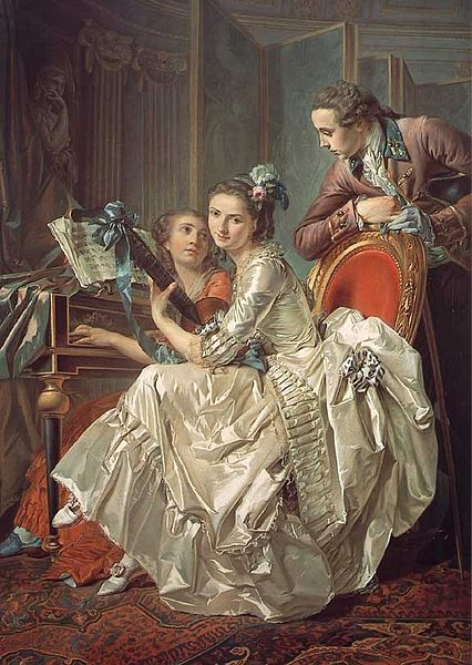 """Louis Rolland Trinquesse, 1774. """"The Music Party."""" Painted in Paris. [Wikipedia. Public Domain.}"""