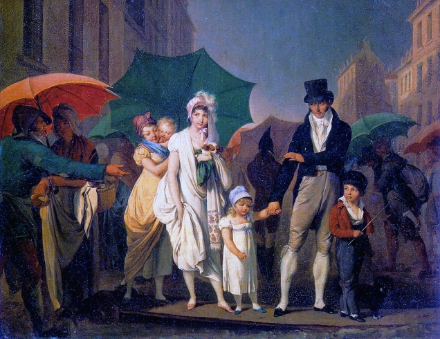 """Louis-Léopold Boilly, 1803. """"Passer Payez."""" (Crossing a plank - with payment demanded by the plank owner - on a muddy Paris street.) [Wikipedia. Public Domain.]"""