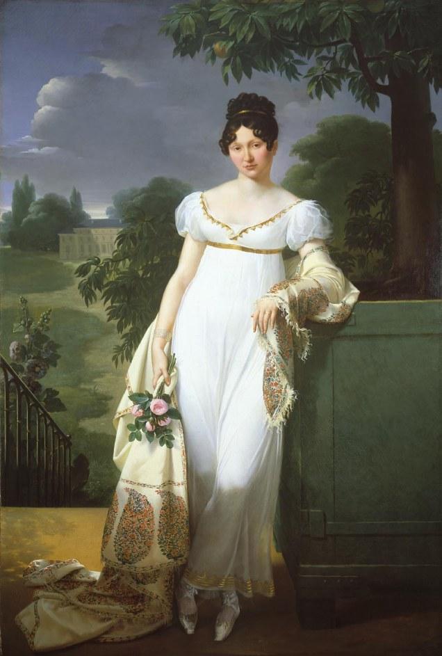 """Merry-Joseph Blondel, 1808. """"Portrait of Félicité-Louise-Julie-Constance de Durfort, Maréchale de Beurnonville (1782-1808)."""" [Wikipedia. Public Domain.]"""