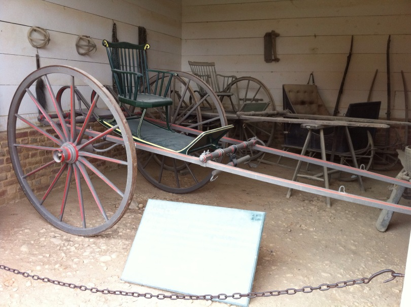 "In George Washington's ""garage"" at his Mount Vernon home. [Photo by me, 2011.]"