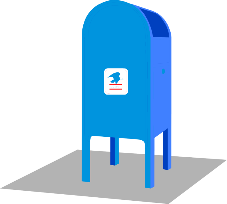 Free Stock Photo: Illustration of a blue mail box.