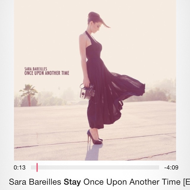 Among what I listen to while writing. When the wife arrived home, she had, uh, caught me...listening to Sara Bareilles in the house. [Screen capture of my iPhone yesterday.]