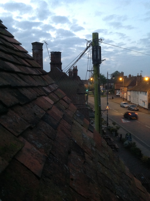 Our village high street, Hertfordshire, England, seen from my office about 6:30AM today. Still quiet. [Photo by me, 2016.]