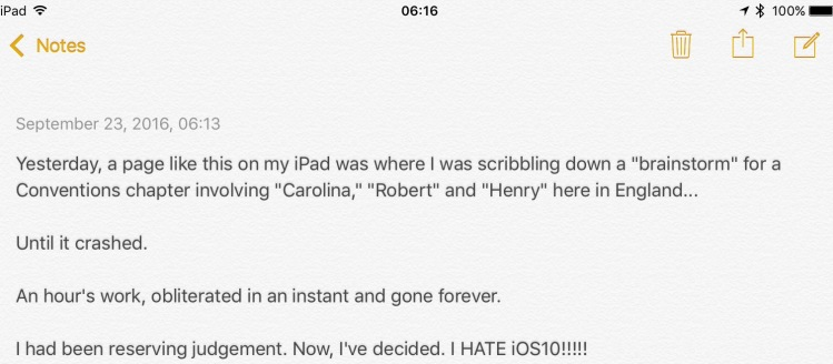 """Screen capture of the iPad's """"Notes"""" app."""