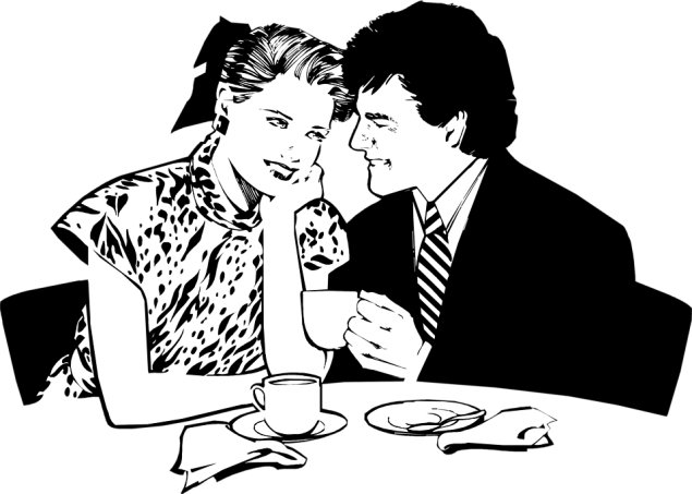Free Stock Photo: Illustration of a couple having a romantic dinner.