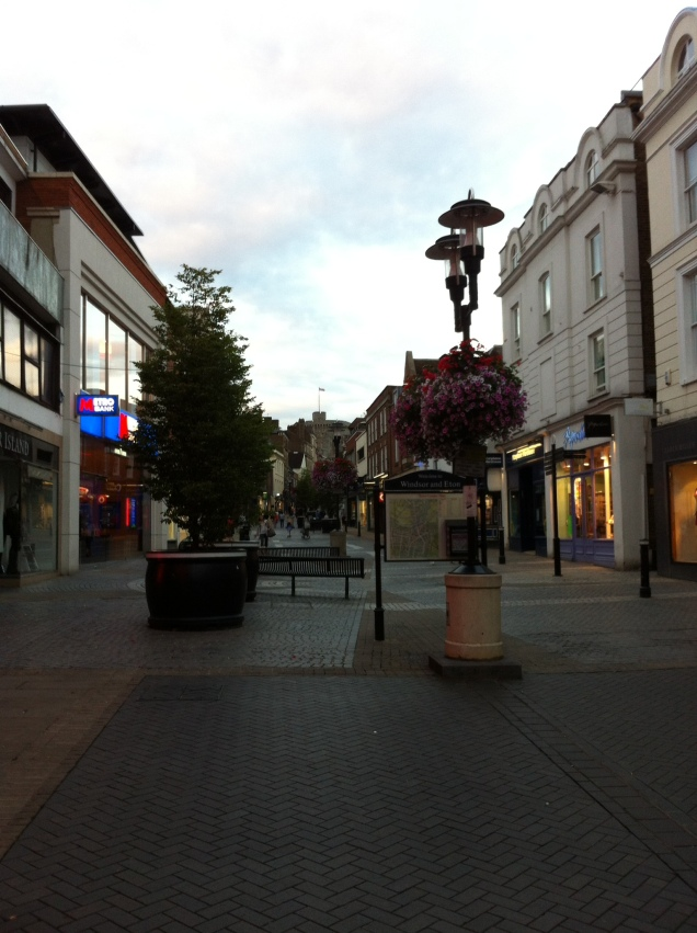 View of Windsor Castle in the distance, from pedestrianized Peascod Street, Windsor. [Photo by me, 2016.]