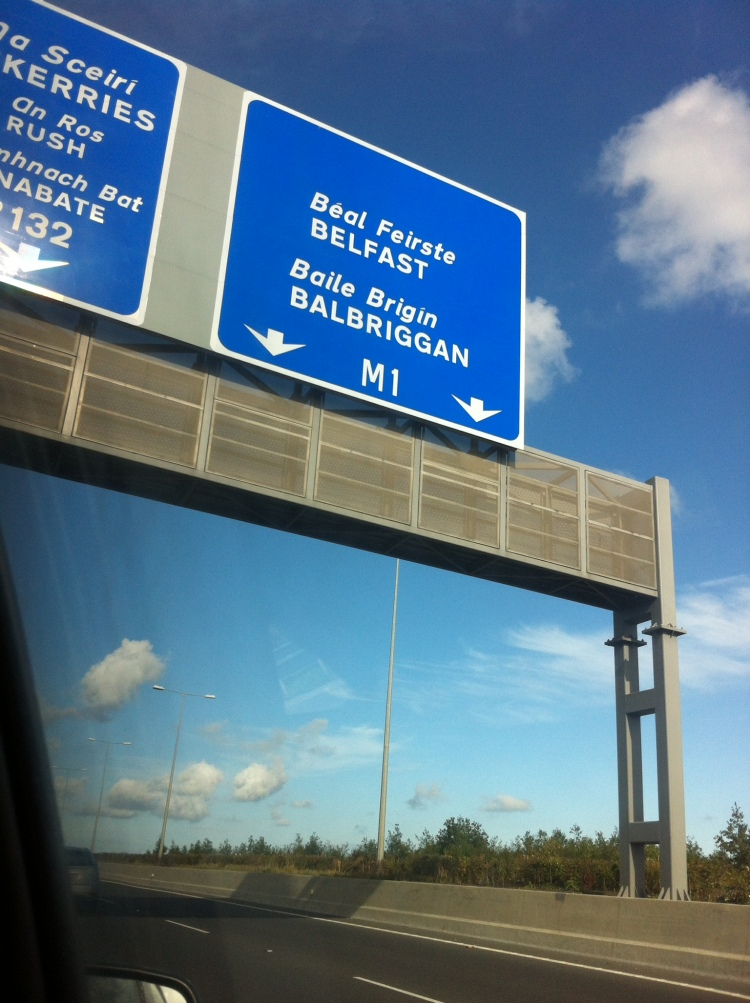 On the M1 motorway, outside Dublin, heading towards another city on the island of Ireland. [Photo by me, 2016.]