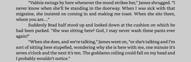 """Excerpt from """"Distances."""" Click to expand. NOTE: """"Pants"""" as written there is used in its American form, not British. Brad is talking about his trousers. :-)"""