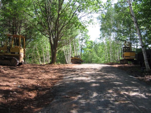 Driveway under construction. Catskills. [Photo by me, 2008.]