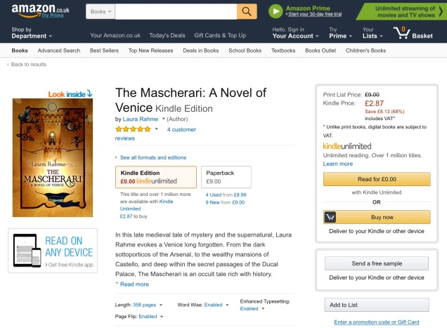 Screen capture of Amazon.co.uk. (It is available worldwide, of course.)