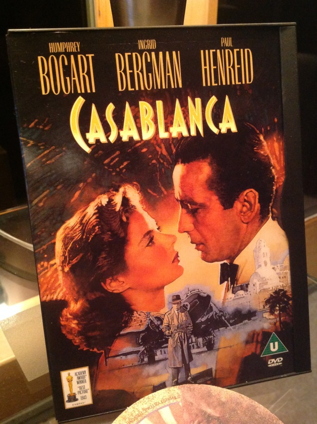 My Casablanca DVD here in the Catskills. [Photo by me, last night.]