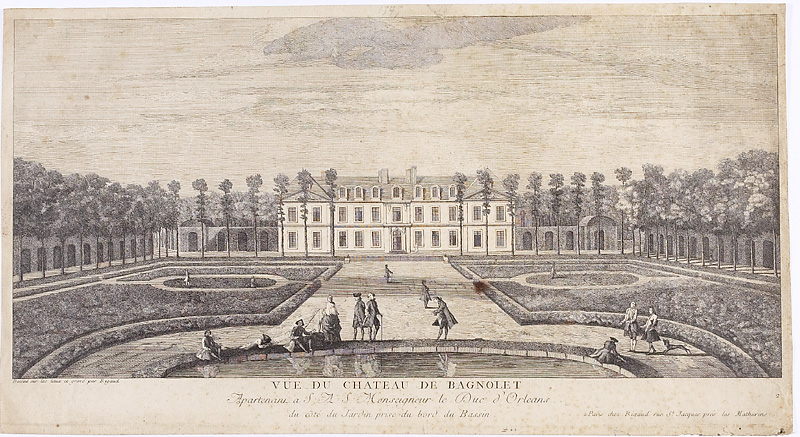 Engraving of the Château de Bagnolet, Paris, 1730. [Wikipedia. Public Domain.]
