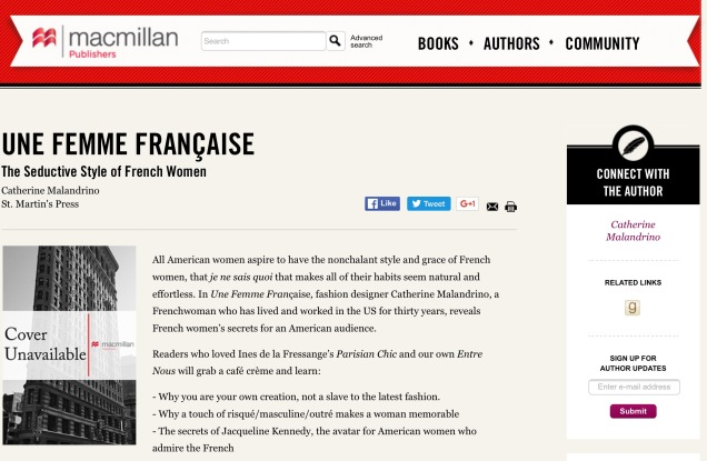 Screen capture of MacMillan web site.