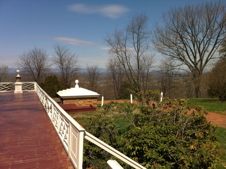 From from side porch at Monticello, overlooking Charlottesville. [Photo by me, 2011.]