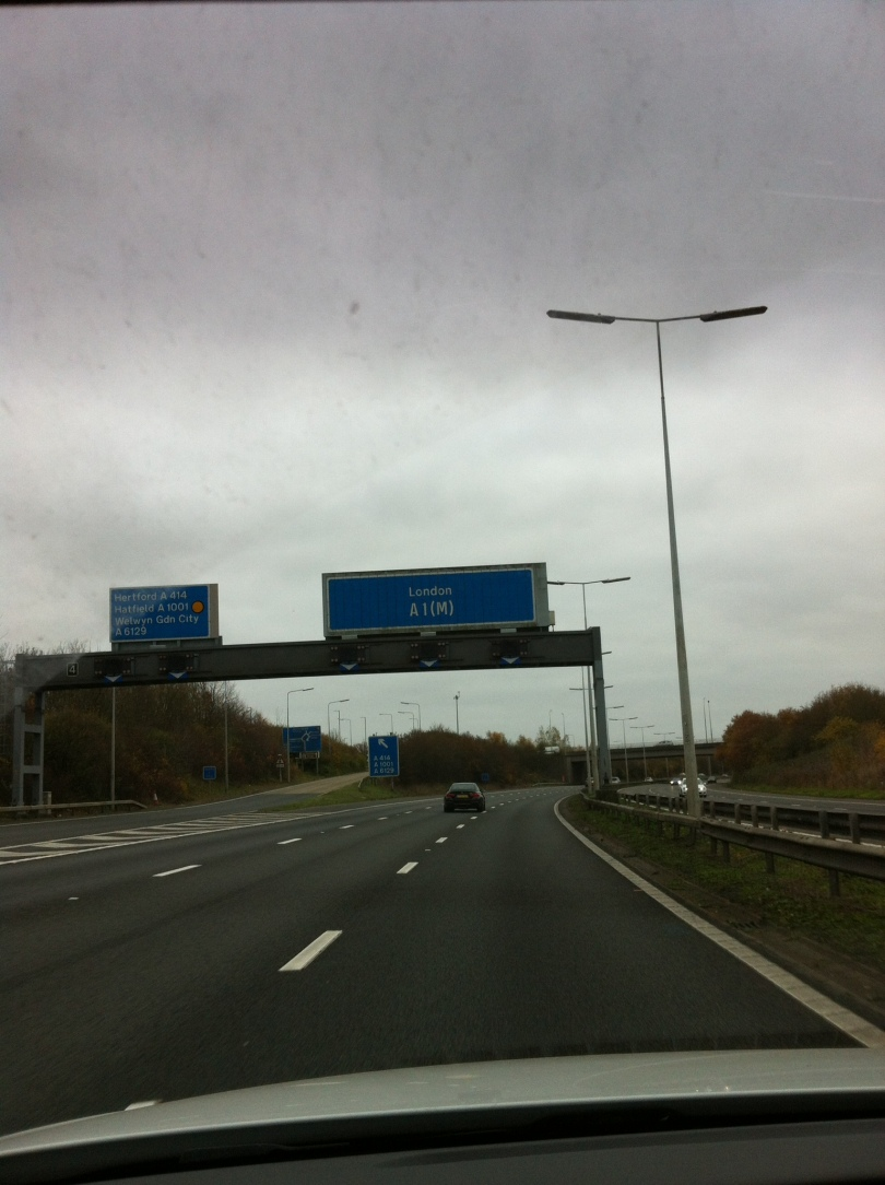 On the A1(M) on Sunday. No, I was NOT driving. [Photo by me, 2016.]