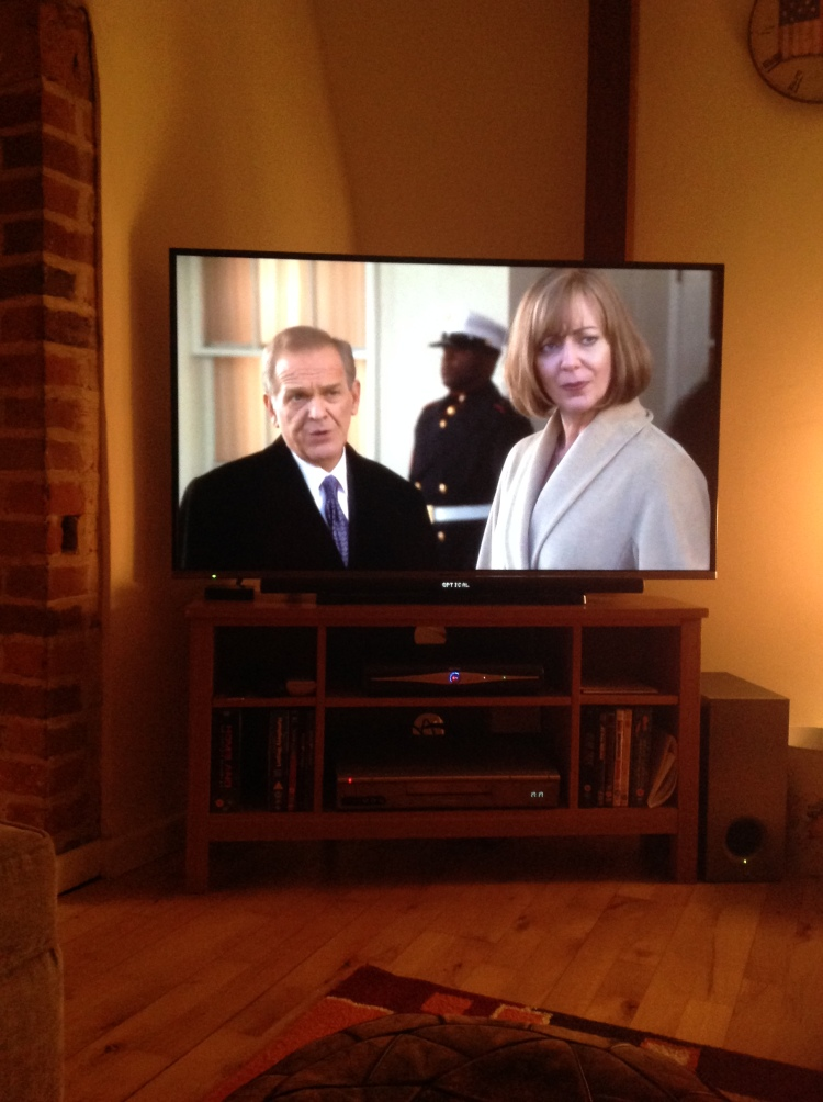 Last night, a West Wing episode on our television. [Photo by me, 2016.]