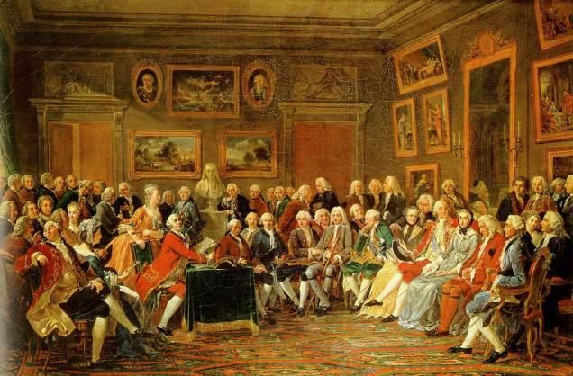 """Anicet-Charles-Gabriel Lemonnier (1743–1824). """"Lecture de la tragédie de l'orphelin de la Chine de Voltaire dans le salon de madame Geoffrin."""""""