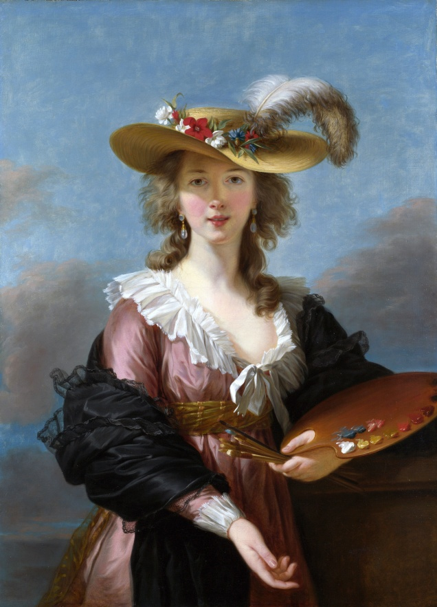"Louise Élisabeth Vigée Le Brun (1755–1842): ""Self-portrait in a Straw Hat"" (c. 1782)."