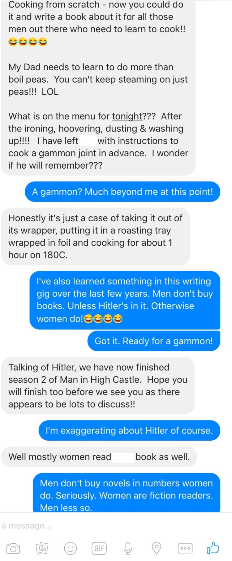 Screen capture of a Messenger chat, 31 January.