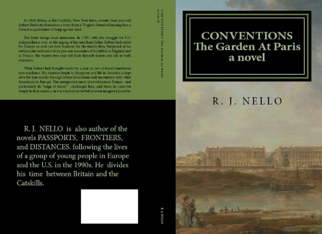 Planned front and rear covers for the paperback version of Conventions: The Garden At Paris.