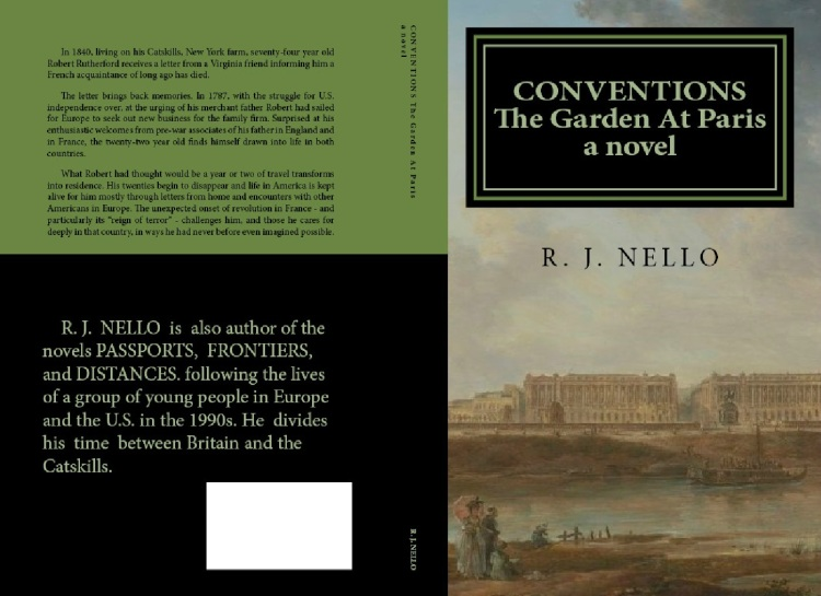 Planned front and rear covers for the paperback version of Conventions: The Garden At Paris. Click to expand.